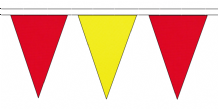RED AND YELLOW TRIANGULAR BUNTING - 10m / 20m / 50m LENGTHS